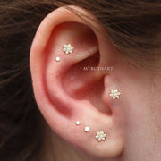 Multiple Ear Piercings Jewelry Ideas for Cartilage Helix Tragus Flower Earring - www.MyBodiArt.com
