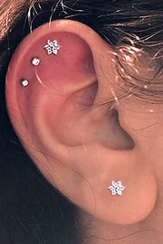 Cute Simple Triple Cartilage Helix Ear Piercing Ideas Crystal Round Earring Stud 16G - www.MyBodiArt.com