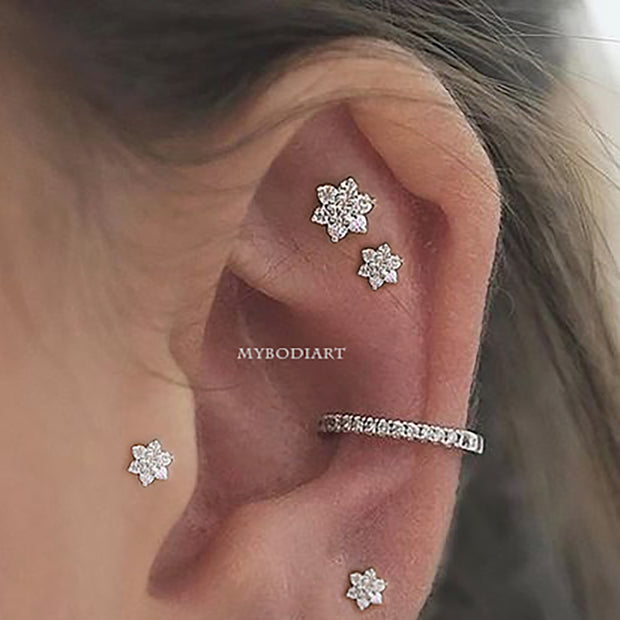 Trending Multiple Flower Ear Piercing Ideas - Constellation Cartilage Helix Tragus Earring Studs - www.MyBodiArt.com #earpiercings #earrings
