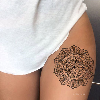 Black Henna Mandala Thigh Tattoo Ideas for Women -  Ideas de tatuaje de muslo para mujeres - www.MyBodiArt.com