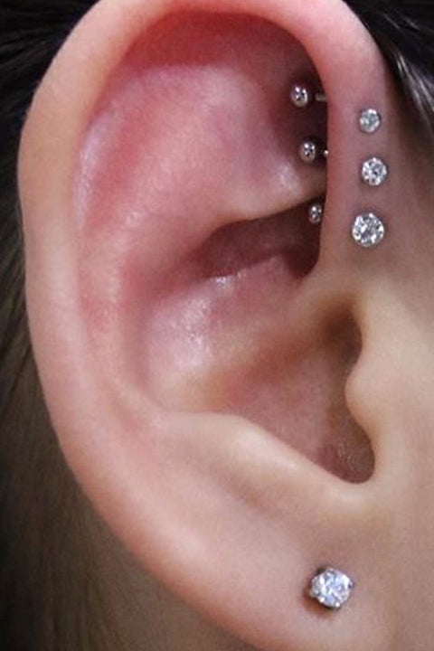 Simple Triple Forward Helix Ear Piercing Jewelry Ideas for Women - www.MyBodiArt.com