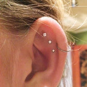 Cute Triple Constellation Cartilage Ear Piercing Ideas - Crystal Earring Studs 16G -  lindas ideas para perforar orejas - www.MyBodiArt.com