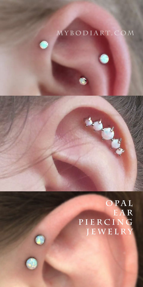 Cute Multiple 5 Opal Cartilage Helix Ear Piercing Jewelry Earring 16G Ideas - Cute Trendy Simple Diamond Ear Climber Earring in Silver for Teen Girls for Women -  arete de plata - www.MyBodiArt.com #earrings - www.MyBodiArt.com