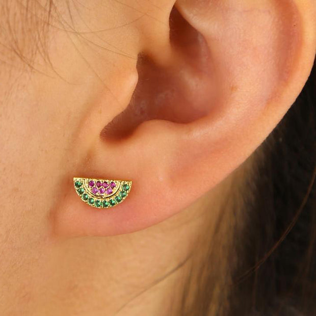 Sofia Cute Watermelon Stud / Dangle Gold Huggie Hoop Earrings