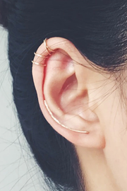 Minimalist Simple Cartilage Helix Ear Cuff Piercing Jewelry Ideas Double Gold Metal Wired -  Cartilago simple piercing de oreja ideas