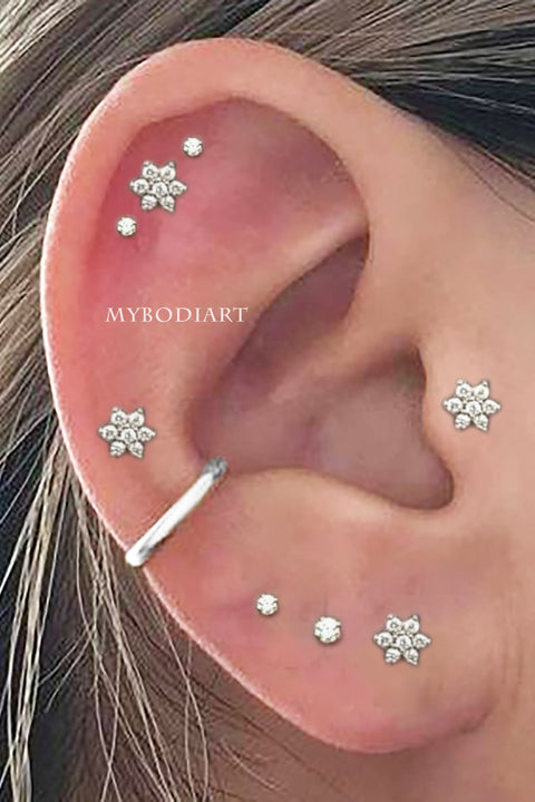 Cute Multiple Ear Piercing Jewelry Ideas Crystal Flower Earring Stud 16G for Cartilage Helix Tragus -  lindas ideas para perforar orejas - www.MyBodiArt.com #earrings