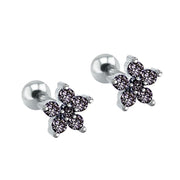 Cute Multiple Ear Piercing Ideas for Teenagers - Minimalist Classy Dainty Black Crystal Flower 16G Earring Stud for Cartilage, Helix, Conch, Tragus - Linda oreja múltiple Piercing Ideas para adolescentes - www.MyBodiArt.com #earrings