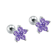 Cute Multiple Ear Piercing Ideas for Teenagers - Minimalist Classy Dainty Purple Crystal Flower 16G Earring Stud for Cartilage, Helix, Conch, Tragus - Linda oreja múltiple Piercing Ideas para adolescentes - www.MyBodiArt.com #earrings