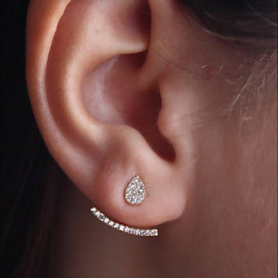 Modern & Simple Ear Piercing Ideas for Teens  - Elegant Unique Crystal Ear Jacket Earring in Gold - www.MyBodiArt.com
