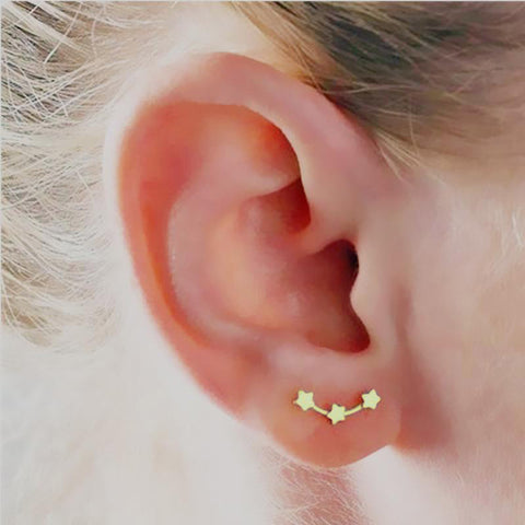 Cute Star Constellation Ear Climber Earrings in Gold for Women Fashion Jewelry -  lindos pendientes estrella - www.MyBodiArt.com