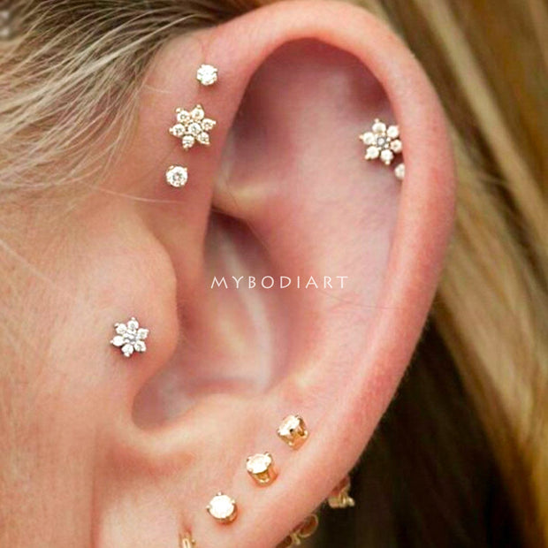 Cute Multiple Ear Piercing Ideas for Women Round Crystal Triple Forward Helix Tragus Cartilage Helix Earring Stud Jewelry -  lindas ideas para perforar orejas para mujeres - www.MyBodiArt.com