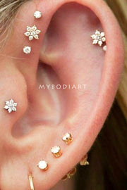 Cute Multiple Ear Piercing Crystal Flower Jewelry Earring Studs -  lindas ideas de joyas para mujeres - www.MyBodiArt.com