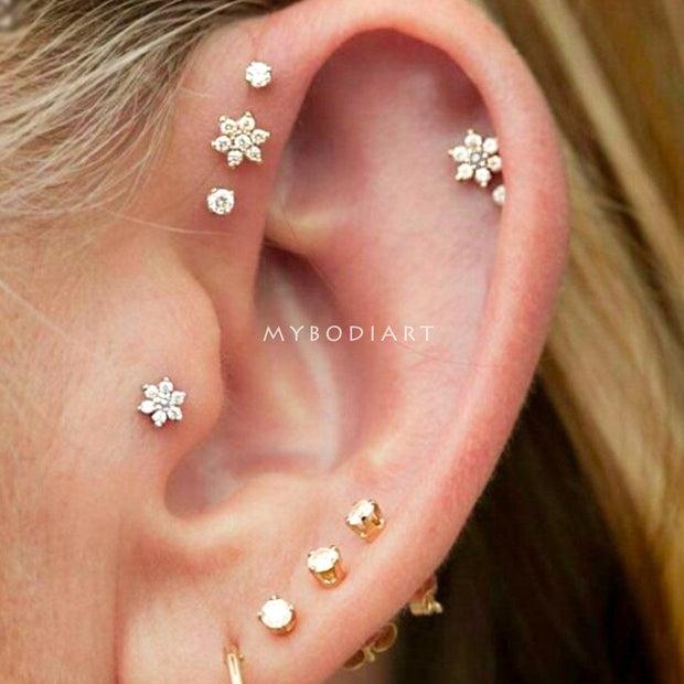 Cute Multiple Flower Ear Piercing Jewelry Ideas for Women -  lindo oreja joyas piercing ideas - www.MyBodiArt.com