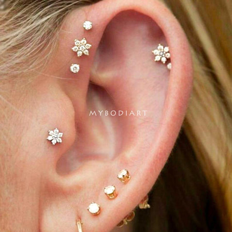 Cute Multiple Cartilage Ear Piercing Ideas Crystal Flower Earring Stud 16G for Forward Helix, Tragus, Conch in Gold, Silver, Rose Gold -  lindas ideas para perforar orejas - www.MyBodiArt.com