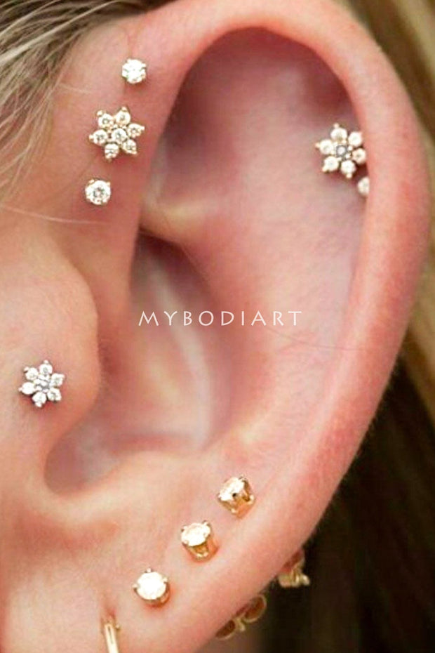 Cute Crystal Flower Multiple Ear Piercing Ideas for Women for Tragus Cartilage Helix Forward Conch -  Linda flor piercing de oreja ideas para mujeres - www.MyBodiArt.com