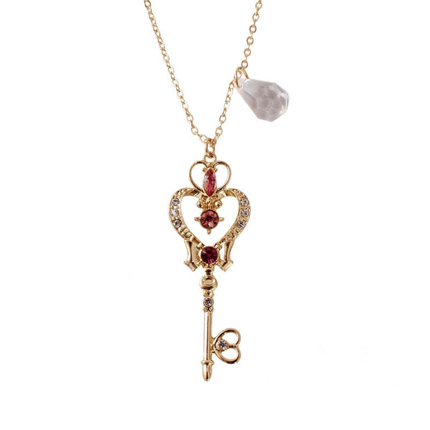 Cute Sailor Moon Pink Key Heart Crystal Rock Wing Gold Chain Choker Necklace Statement Jewelry for Women - www.MyBodiArt.com #necklaces
