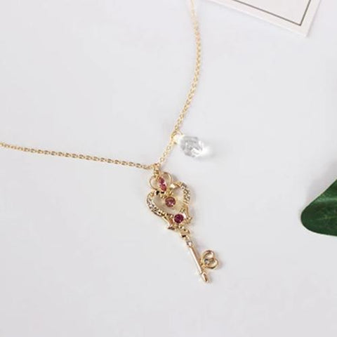 Usagi Pink Heart Key Cute Sailor Moon Inspired Gold Pendant Necklace