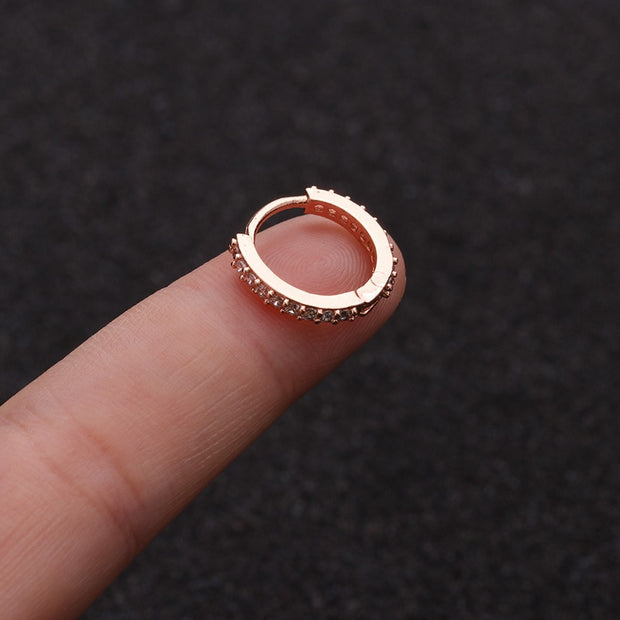 Crystal Rose Gold Ear Piercing Jewelry Hoop Huggie Earring 16G Fashion Jewelry for Women for Teen Girls - www.MyBodiArt.com