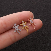 Cute Crystal Lizard Cartilage Helix Conch Ear Piercing Jewelry Ideas for Women - www.MyBodiArt.com
