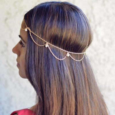 Head Chain Jewelry Perfect for Boho Bridal Wedding or Festival Fashion Outfit Ideas at MyBodiArt.com