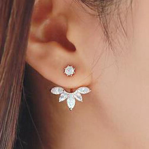 Womens Crystal Starburst Earring Jacket Jewelry in Silver at MyBodiArt.com