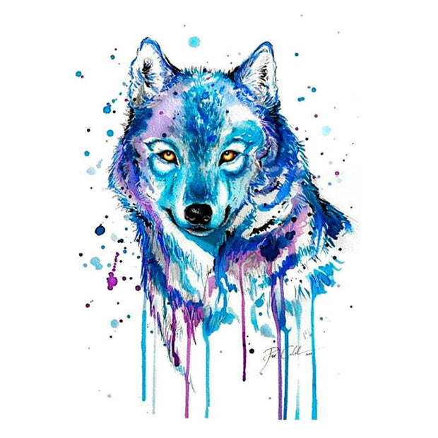 Watercolor Wolf Temporary Tattoo - MyBodiArt.com