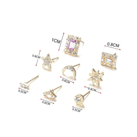 Cute Small Sun Moon Rainbow Crystal Earring Set Studs in Gold for Women Fashion Jewelry -  lindos aretes de oro - www.MyBodiArt.com