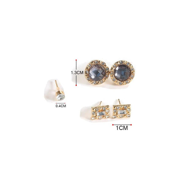 Cute Small Crystal Earring Set Studs in Gold for Women Fashion Jewelry -  lindos aretes de oro - www.MyBodiArt.com