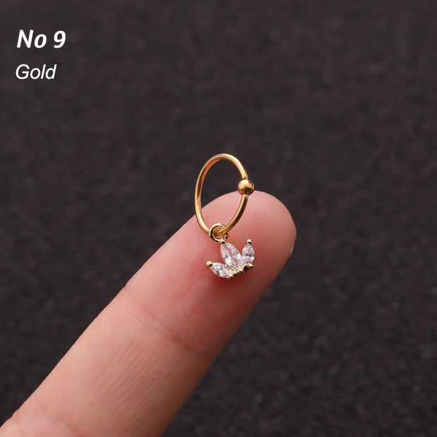 Keily Cute Crystal Flower Star Sun Heart Hoop Ring Ear Piercing Jewelry