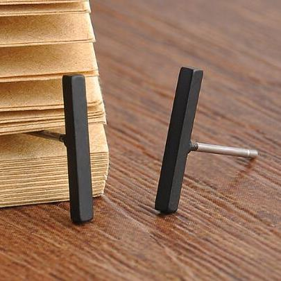 Womens T Bar Minimalistic Minimal Earrings in Black - MyBodiArt.com