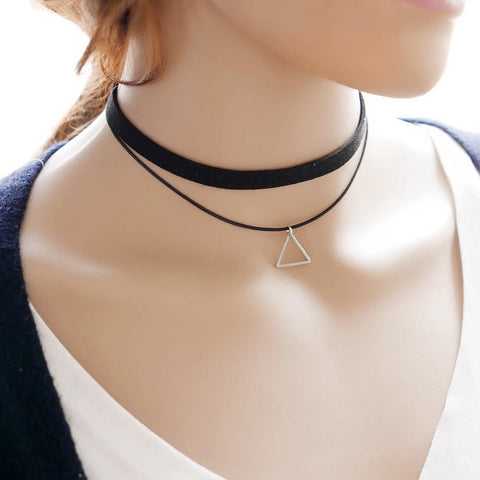 Teens Cute Outfits for School - Layered Retro Vintage Velvet Black Choker with Geometric Triangle at MyBodiArt.com