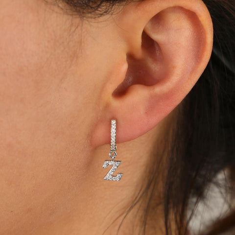 Cute Alphabet Letter Dangle Crystal Pave Huggie Hoop Earring Fashion Jewelry - www.MyBodiArt.com #earrings