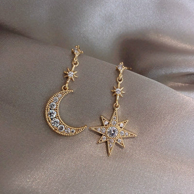 Moon & Star Dangle Gold Statement Earrings Studs - www.MyBodiArt.com #earrings