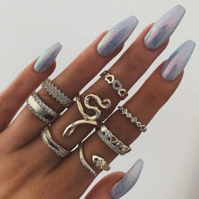 Rayna Cute Unique Stackable Snake & Heart Gold Statement 8 Piece Ring Set