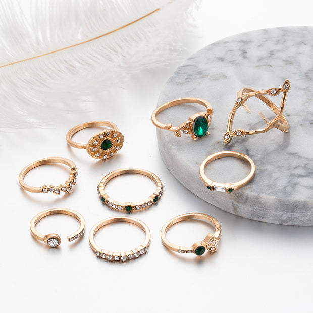 Cute Gold Stackable Midi Boho Green Emerald Crystal Ring Set Fashion Jewelry for Teen Girls for Women - www.MyBodiArt.com #rings