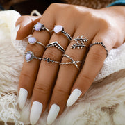 Cute Opal Silver Stackable Midi Modern Leaf Ring Set Fashion Jewelry for Teen Girls for Women - www.MyBodiArt.com #rings
