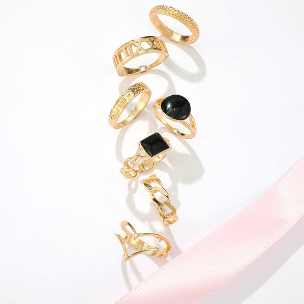 Hardy Cute Unique Stackable Gold Statement 7 Piece Ring Set