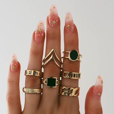 Cute Gold Stackable Midi Modern Artistic Ring Set Roman Numerals Fashion Jewelry for Teen Girls for Women - www.MyBodiArt.com #rings