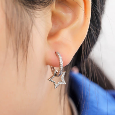 Cute Unique Star Huggie Hoop Earrings Fashion Jewelry for Women for Teen Girls - www.MyBodiArt.com