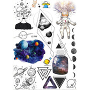 Cool Unique Planet Moon Astronaut Spaceman Galaxy Space Temporary Tattoo Sheets for Women - www.MyBodiArt.com #tattoos