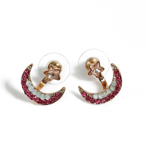 Womens Crescent Ear Jacket Earring in Gold at MyBodiArt.com