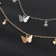 Cute Dainty Gold Floating Star Butterfly Chain Choker Necklace - www.MyBodiArt.com #necklace