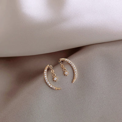 Pretty Crescent Moon Star Dangle Earring Studs Fashion Jewelry for Women - www.MyBodiArt.com