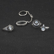 Boho Fashion Rings Set Opal Teen Moon Double Finger Chain Midi Ring in Silver or Gold at MyBodiArt.com