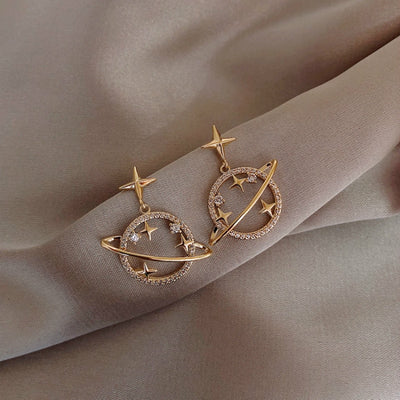 Celestial Planet Stars Circle Gold Earring Studs - www.MyBodiArt.com #earrings