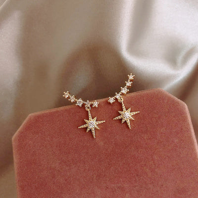 Trending Celestial Ear Climber Earring Star Studs - www.MyBodiArt.com #earrings