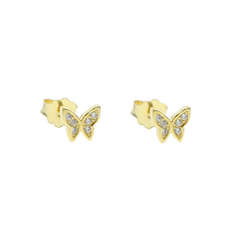Cute Crystal Butterfly Earring Studs for Women in Gold, Silver, Rose Gold - www.MyBodiArt.com #earrings