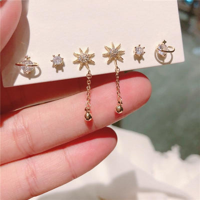 Cute Crystal Planet Star Earring Set Fashion Jewelry for Women - www.MyBodiArt.com