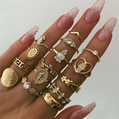Aesthetic Boho Fashion Rings Sets in Gold - www.MyBodiArt.com