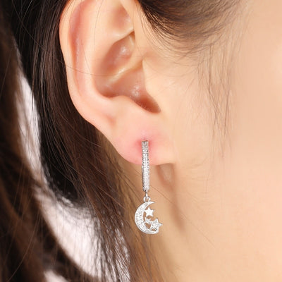 Cute Moon and Stars Crystal Huggie Hoop Earrings Fashion Jewelry for Women - www.MyBodiArt.com